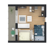 3d rendering of furnished home apartment Stock Photography