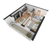 3d rendering of furnished home apartment Royalty Free Stock Photography