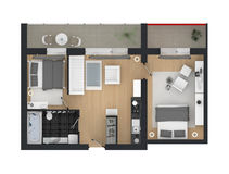 3d rendering of furnished home apartment Stock Image