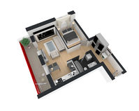 3d rendering of furnished home apartment Stock Photos