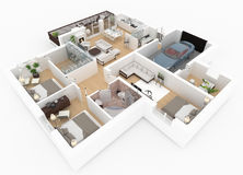 3d rendering of furnished home Royalty Free Stock Images