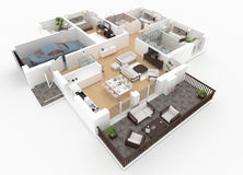 3d rendering of furnished home Stock Photos