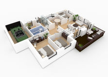 3d rendering of furnished home Stock Photography