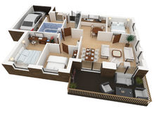 3d rendering of furnished home Royalty Free Stock Photos