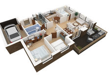 3d rendering of furnished home Royalty Free Stock Image