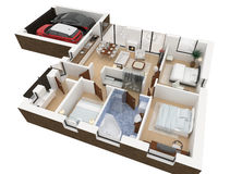 3d rendering of furnished home. Apartment Royalty Free Stock Image