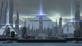 3D rendering of a futuristic ancient city. 3D rendering of a futuristic city with a mysterious ancient pyramid and modern skyscrapers around it. Bright lasers on stock illustration
