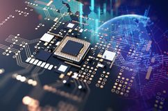 3d rendering  of futuristic blue circuit board Royalty Free Stock Images