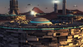 Futuristic city and alien planet. 3D rendering. Futuristic city and alien planet Stock Photo