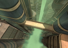 3D Rendering Futuristic City. 3D rendering of a futuristic city in a green fog Stock Image