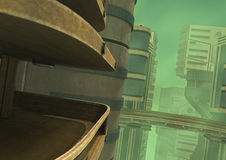 3D Rendering Futuristic City. 3D rendering of a futuristic city in a green fog Stock Photos