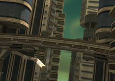 3D Rendering Futuristic City. 3D rendering of a science fiction futuristic city in a green fog Stock Photos