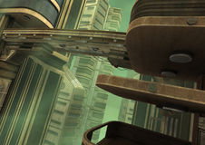 3D Rendering Futuristic City. 3D rendering of a science fiction futuristic city in a green fog Stock Image