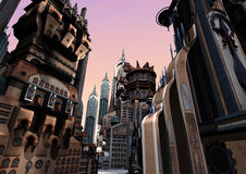 3D Rendering Futuristic City. 3D rendering of a science fiction futuristic city on pink sky background Stock Photo