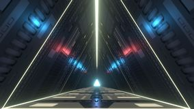 Futuristic triangle corridor with infra-red and ultraviolet lights. 3D rendering. A 3D rendering of a futuristic corridor in triangle shape. You are into a sci Stock Illustration