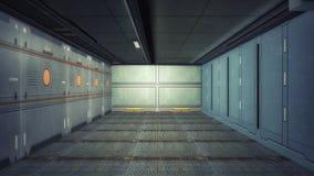 3D rendering. Futuristic empty interior. Corridor Stock Photo