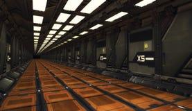 3D rendering. Futuristic empty interior. Corridor Stock Photos
