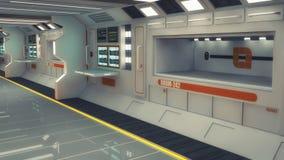 3D rendering. Futuristic empty interior. Corridor Stock Images