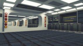 3D rendering. Futuristic empty interior. Corridor Stock Image