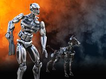 3D rendering of a futuristic mech soldier with dog. 3D rendering of a futuristic mech soldier holding a rifle with a dog beside him in a futuristic dystopian Royalty Free Stock Image