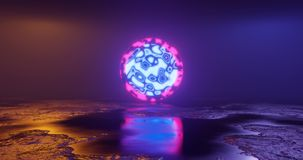 3d rendering. Futuristic object sci-fi surface with particle neon elements of bright green color. Futuristic background. royalty free stock photo
