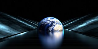 3d rendering of a futuristic road with earth sphere. At the end of the tunnel with lights Royalty Free Stock Image