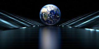3d rendering of a futuristic road with earth sphere. At the end of the tunnel with lights Stock Image