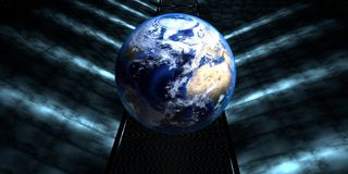 3d rendering of a futuristic road with earth sphere. At the end of the tunnel with lights Royalty Free Stock Photos