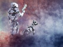 3D rendering of a futuristic robot cop with dog. 3D rendering of a futuristic robot cop holding gun with a dog beside him, fighting a war in a ruined city Stock Photo