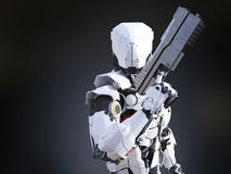 3D rendering of a futuristic robot cop holding gun. Royalty Free Stock Photography