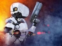 3D rendering of a futuristic robot hero cop holding gun. Royalty Free Stock Photo