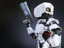 3D rendering of a futuristic robot cop holding gun. Stock Photos