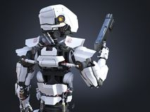3D rendering of a futuristic robot cop holding gun. Stock Photo