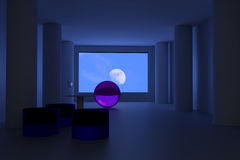 3D rendering of a futuristic room with an empty wine glass: loneliness. 3D rendering of a futuristic room with an empty wine glass looking at the moon in the Royalty Free Stock Photo