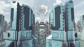 Take off from a futuristic scifi city. 3D rendering. 3D rendering of a futuristic sci-fi city with modern fiction skyscrapers and buildings in the galaxy. Take royalty free illustration