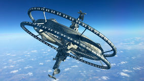 3D Rendering of a futuristic space station Stock Image