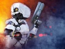 3D rendering futurystyczny robota bohatera policjanta mienia pistolet ilustracji