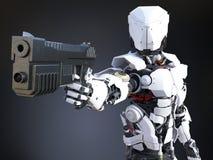 3D rendering futurystyczny robota policjanta mienia pistolet ilustracji