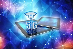 3d rendering, 5G Network, 5G Connection Concept. 5G Network, 5G wifi internet Connection Concept. 3d rendering stock illustration