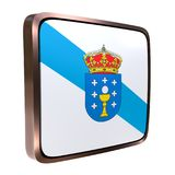 Galicia Community flag. 3d rendering of a Galicia Community flag icon. Isolated on white Royalty Free Stock Photos