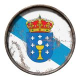 Old Galicia flag. 3d rendering of a Galicia Community flag over a rusty metallic plate. Isolated on white background Royalty Free Stock Photography