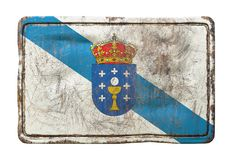 Old Galicia flag. 3d rendering of a Galicia flag over a rusty metallic plate. Isolated on white background Stock Photography