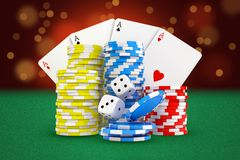 3d rendering of gaming cards, stacks of casino chips and dice stand on green felt background. Gaming and betting. Losing money in casino. Addictive games vector illustration