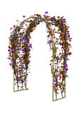3D Rendering Garden Arbor on White. 3D rendering of a garden arbor with autumn flowers isolated on white background Royalty Free Stock Photo