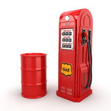 3D rendering gas station. In retro style with a barrel Royalty Free Stock Image