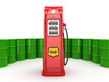 3D rendering gas station. In retro style with a barrels Stock Photos