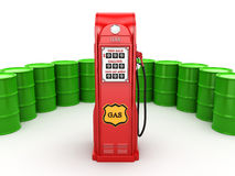 3D rendering gas station. In retro style with a barrels Stock Photography