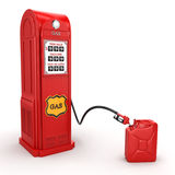 3D rendering gas station. In retro style with canister Stock Photography