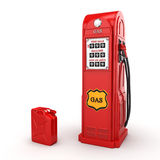 3D rendering gas station. In retro style with canister Stock Photo