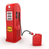 3D rendering gas station. In retro style with canister Stock Photos